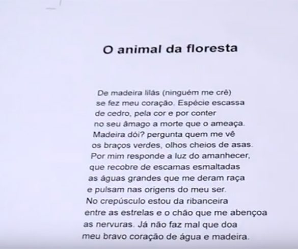 "Thiago de Mello recita ""O animal da floresta"""