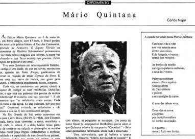 Carlos Nejar sobre Quintana – amizade, poesia e atropelamentos